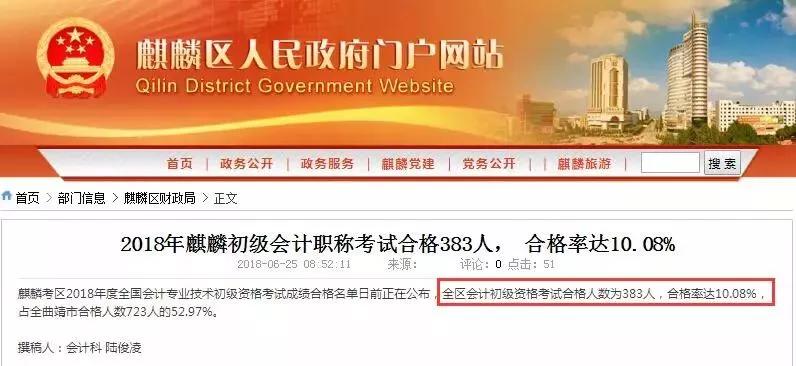 云南省曲靖麒麟区初级会计考试通过率